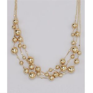 Tri-Layer Gold Beads Necklace